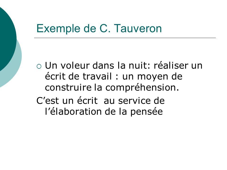 Exemple de C. Tauveron Un voleur dans la nuit: réaliser un écrit de travail : un moyen de construire la compréhension.