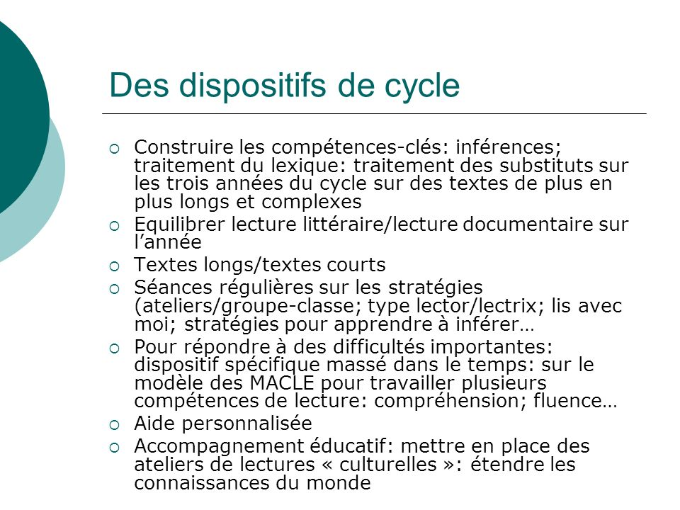 Des dispositifs de cycle