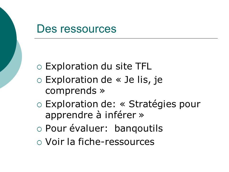 Des ressources Exploration du site TFL