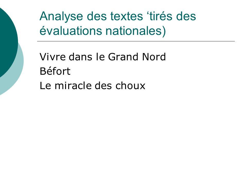 Analyse des textes 'tirés des évaluations nationales)