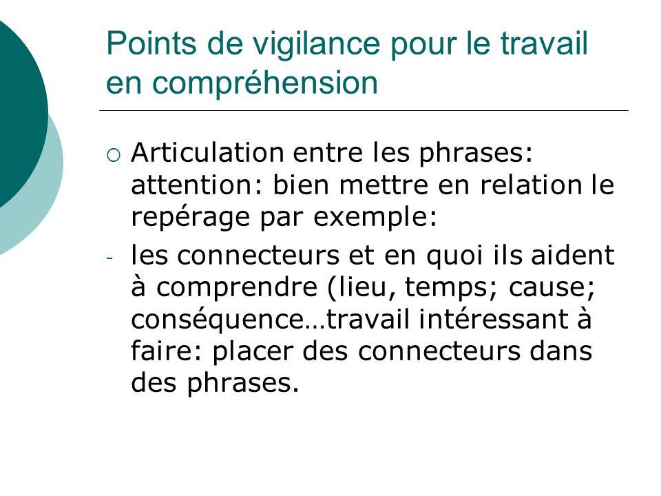 Points de vigilance pour le travail en compréhension