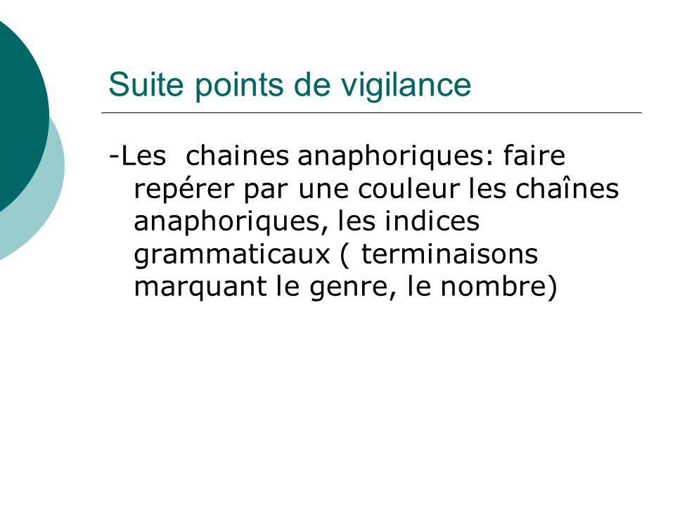 Suite points de vigilance