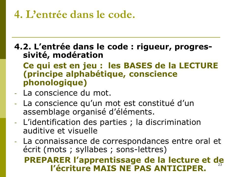 4. L'entrée dans le code. 4.2. L'entrée dans le code : rigueur, progres-sivité, modération.