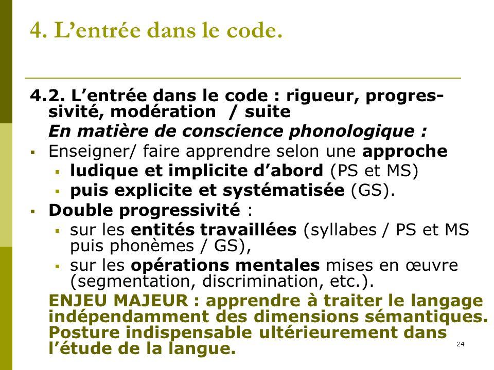 4. L'entrée dans le code. 4.2. L'entrée dans le code : rigueur, progres-sivité, modération / suite.