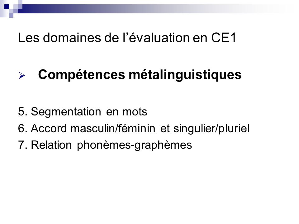 Les domaines de l'évaluation en CE1