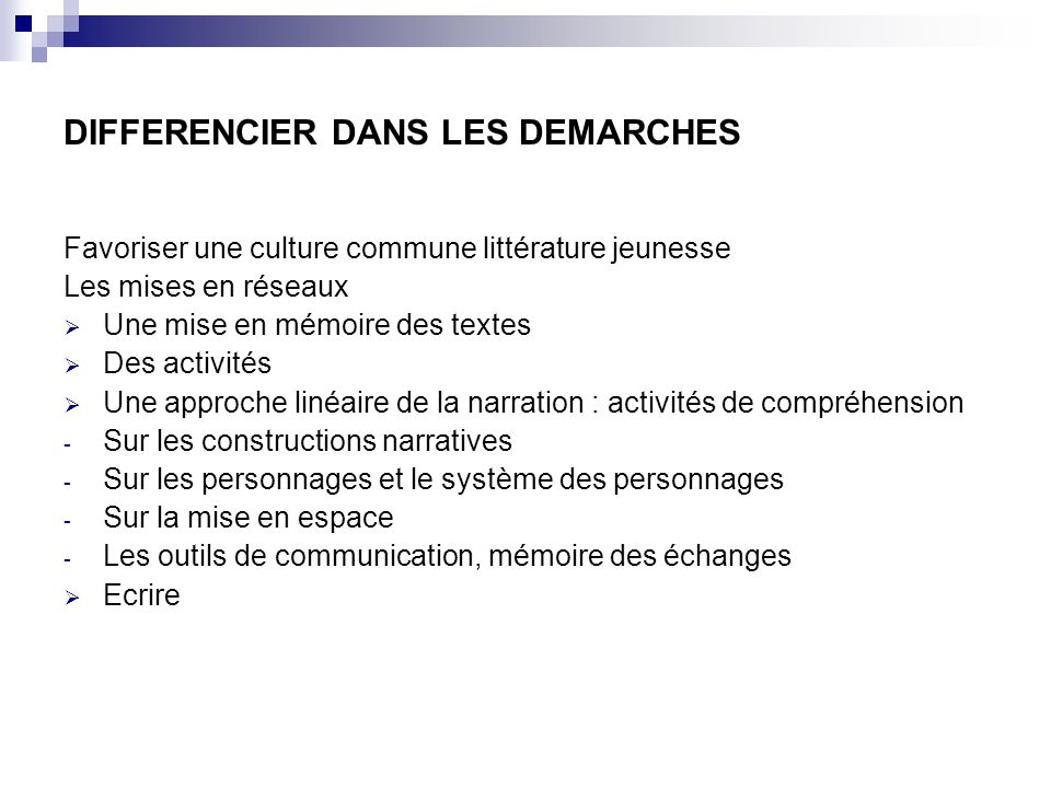 DIFFERENCIER DANS LES DEMARCHES