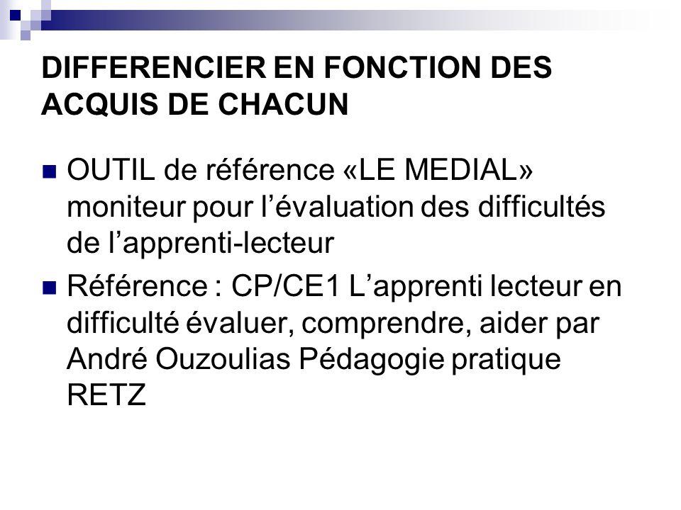 DIFFERENCIER EN FONCTION DES ACQUIS DE CHACUN