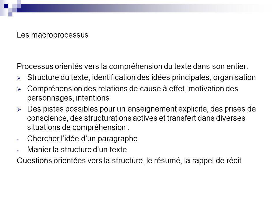 Les macroprocessus Processus orientés vers la compréhension du texte dans son entier.