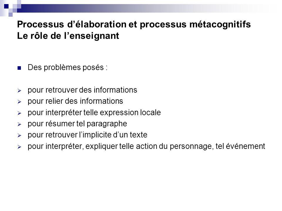 Processus d'élaboration et processus métacognitifs Le rôle de l'enseignant