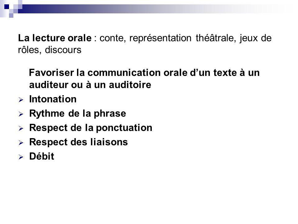 La lecture orale : conte, représentation théâtrale, jeux de rôles, discours