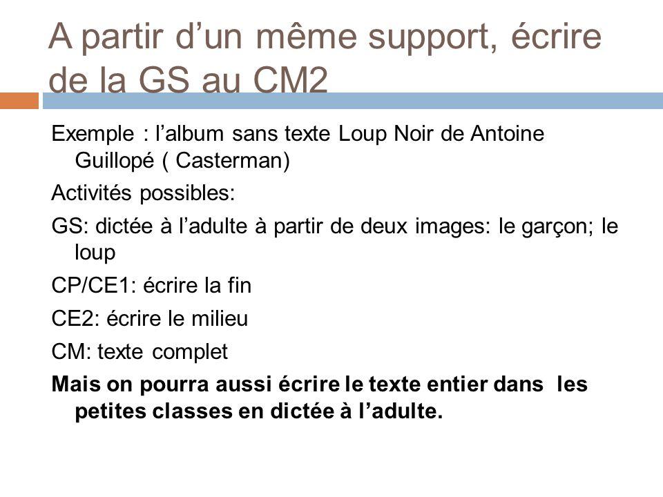 A partir d'un même support, écrire de la GS au CM2