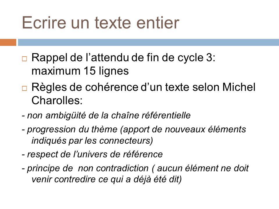 Ecrire un texte entier Rappel de l'attendu de fin de cycle 3: maximum 15 lignes. Règles de cohérence d'un texte selon Michel Charolles: