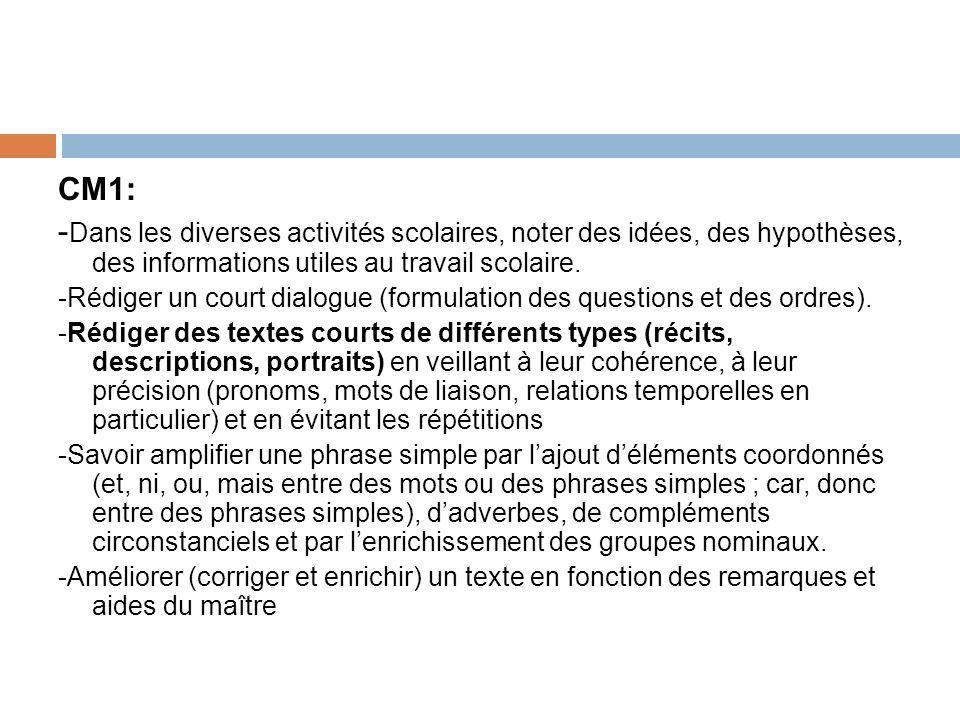 CM1: -Dans les diverses activités scolaires, noter des idées, des hypothèses, des informations utiles au travail scolaire.