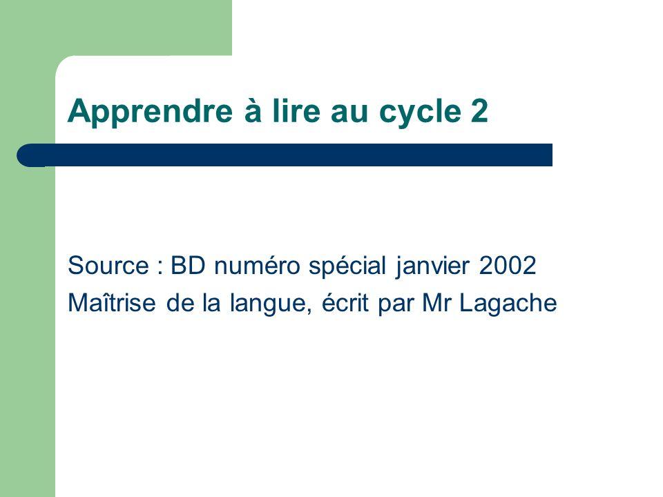 Apprendre à lire au cycle 2