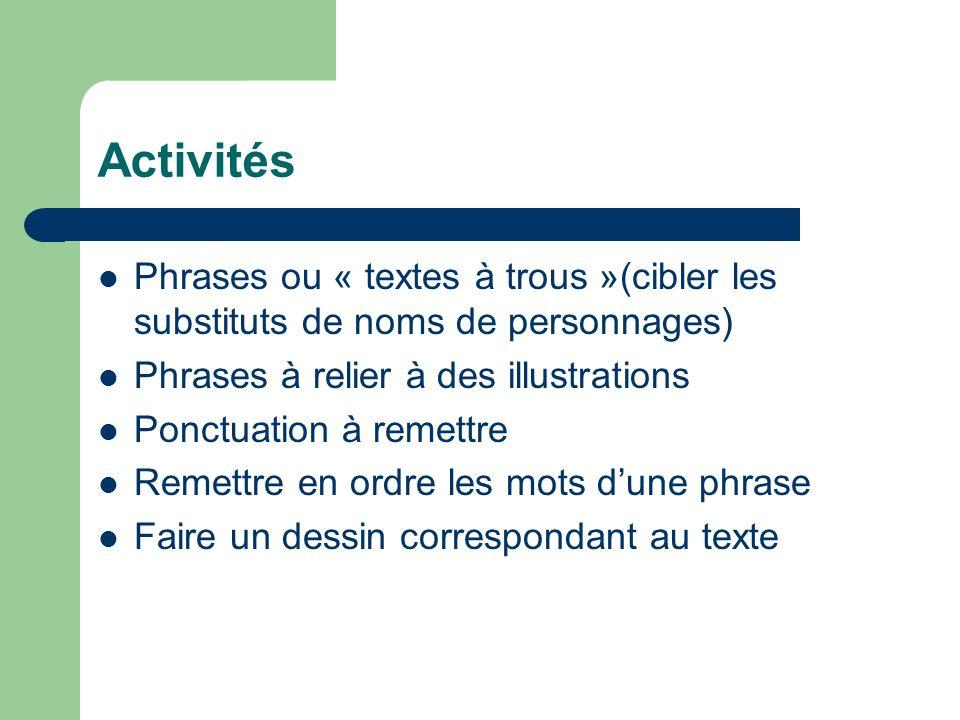 Activités Phrases ou « textes à trous »(cibler les substituts de noms de personnages) Phrases à relier à des illustrations.