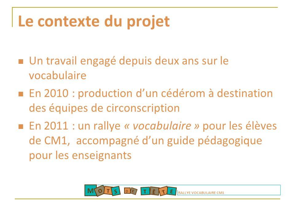 Le contexte du projet Un travail engagé depuis deux ans sur le vocabulaire.