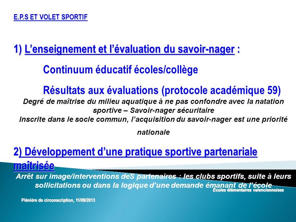 1) L'enseignement et l'évaluation du savoir-nager :