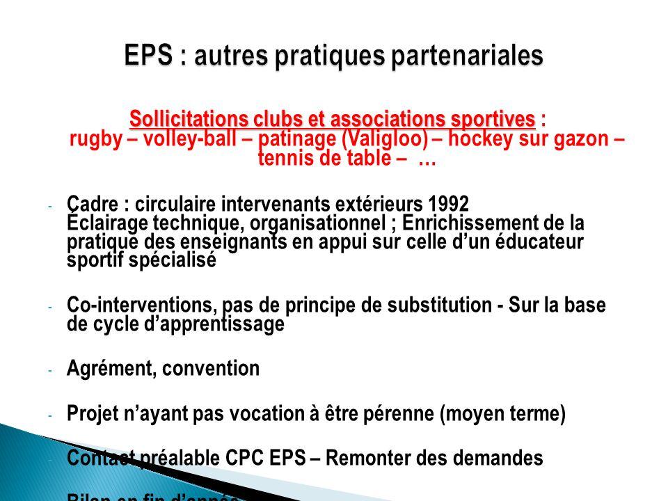 EPS : autres pratiques partenariales