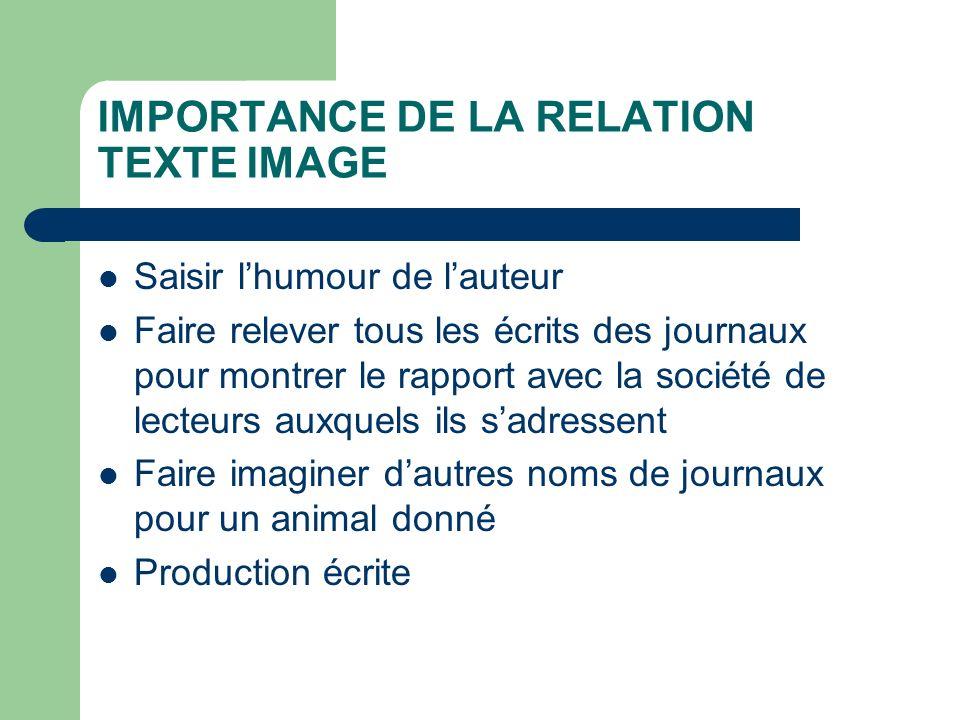 IMPORTANCE DE LA RELATION TEXTE IMAGE