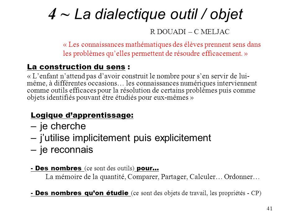 4 ~ La dialectique outil / objet R DOUADI – C MELJAC