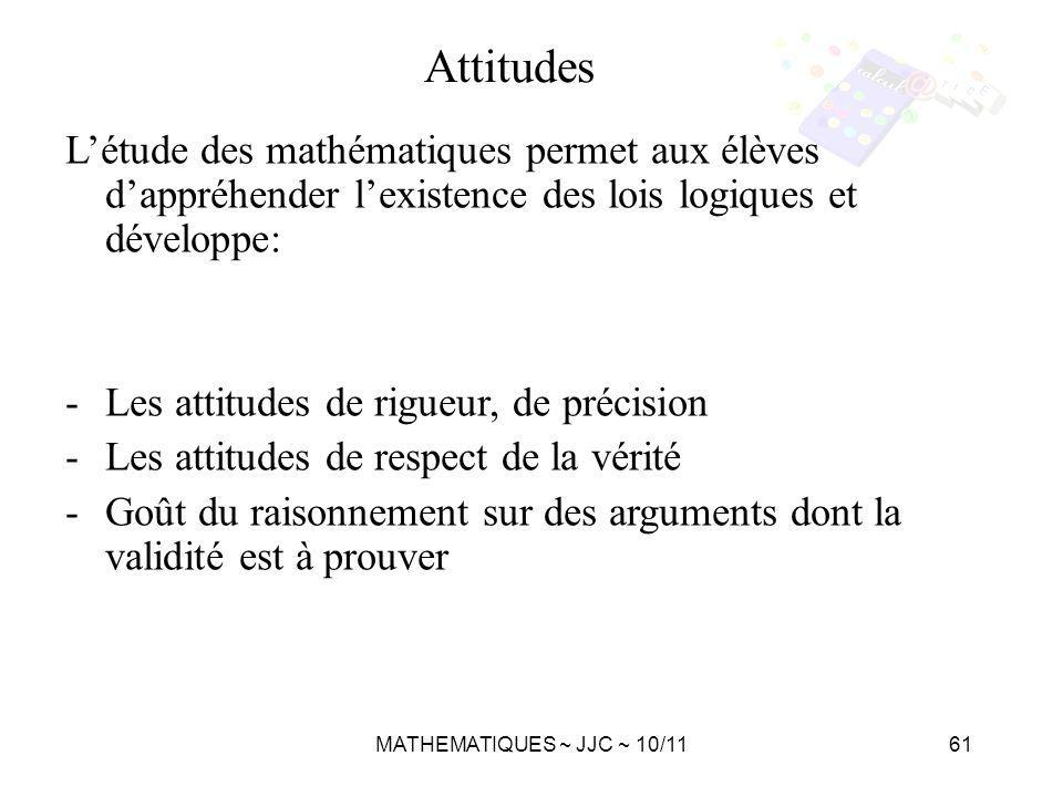 Attitudes L'étude des mathématiques permet aux élèves d'appréhender l'existence des lois logiques et développe: