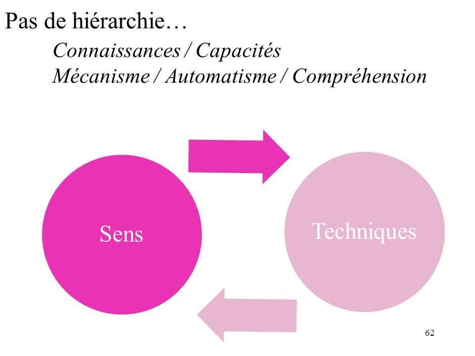 Pas de hiérarchie…. Connaissances / Capacités