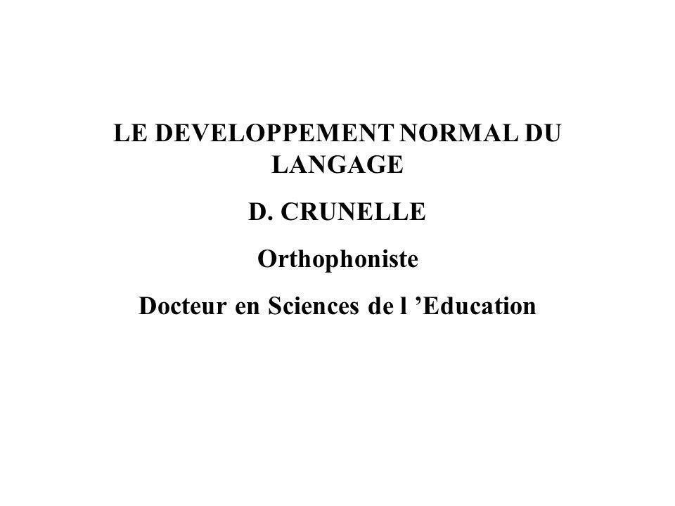 LE DEVELOPPEMENT NORMAL DU LANGAGE Docteur en Sciences de l 'Education