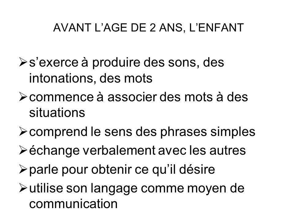 AVANT L'AGE DE 2 ANS, L'ENFANT
