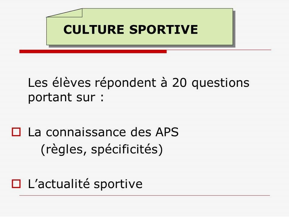CULTURE SPORTIVELes élèves répondent à 20 questions portant sur : La connaissance des APS. (règles, spécificités)