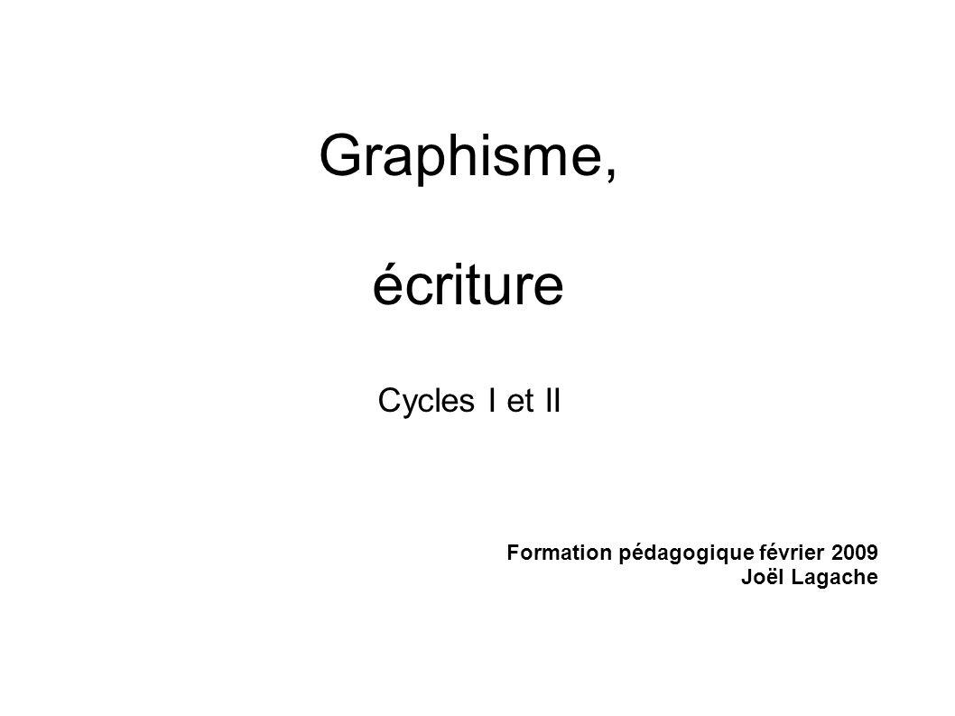 Graphisme, écriture Cycles I et II Formation pédagogique février 2009