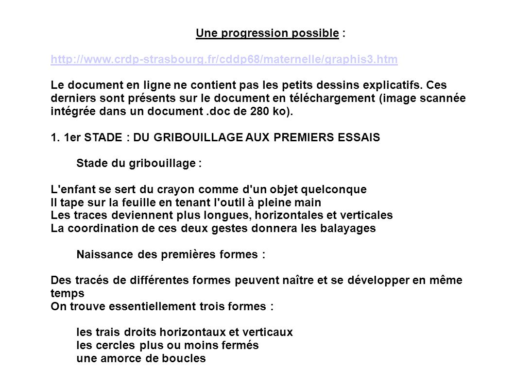 Une progression possible :