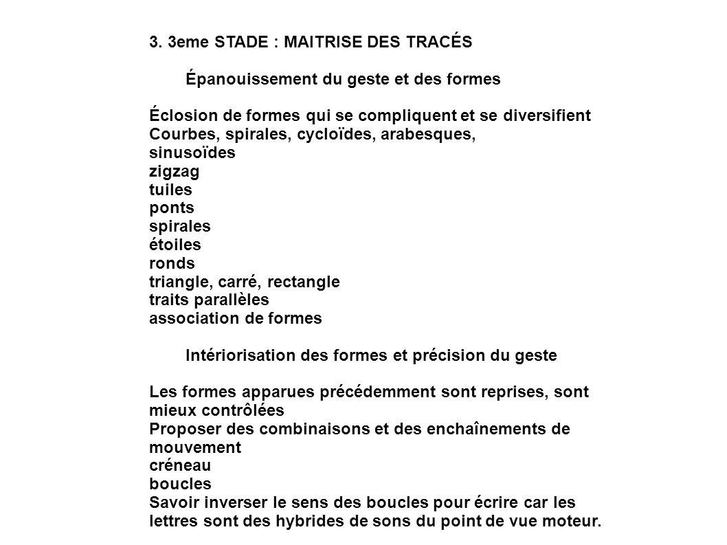 3. 3eme STADE : MAITRISE DES TRACÉS