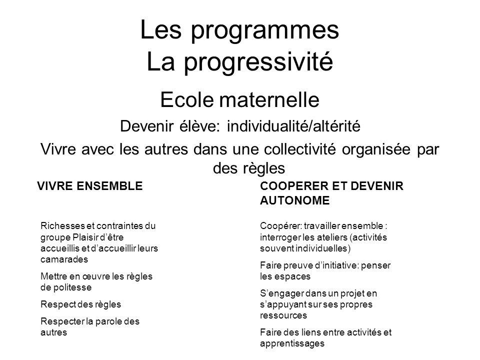 Les programmes La progressivité
