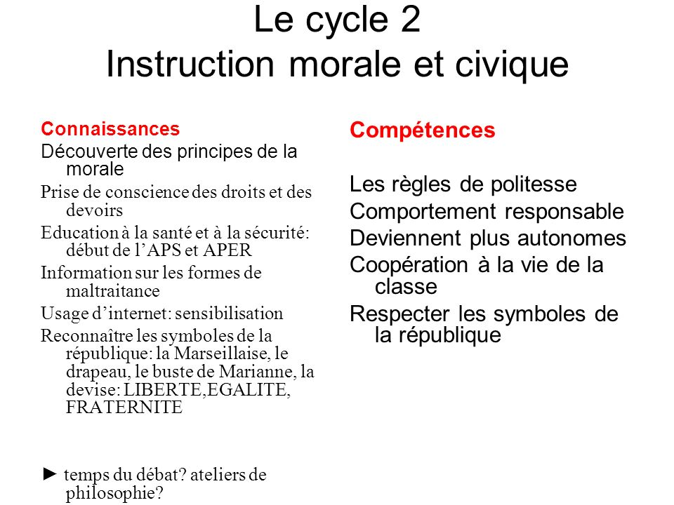 Le cycle 2 Instruction morale et civique