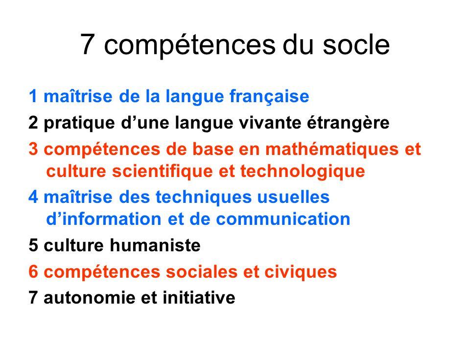 7 compétences du socle 1 maîtrise de la langue française