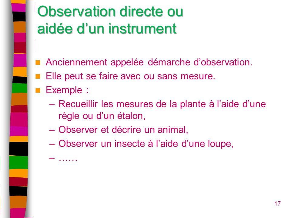 Observation directe ou aidée d'un instrument