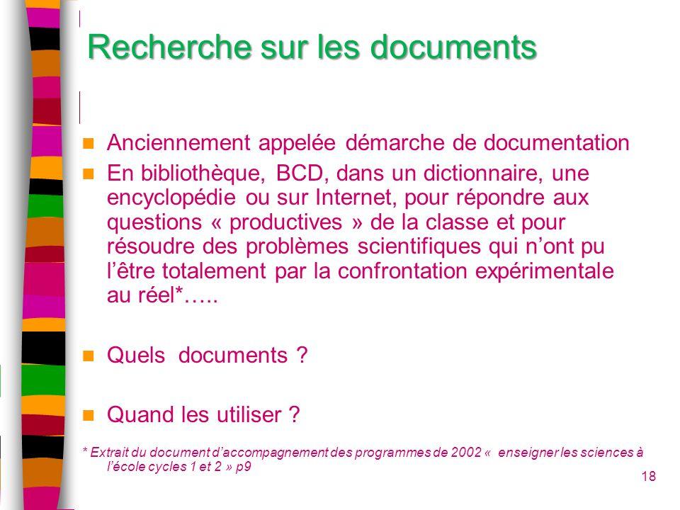 Recherche sur les documents