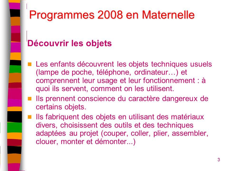 Programmes 2008 en Maternelle