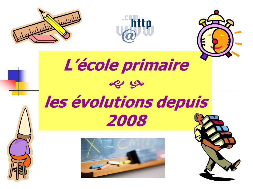 L'école primaire   les évolutions depuis 2008