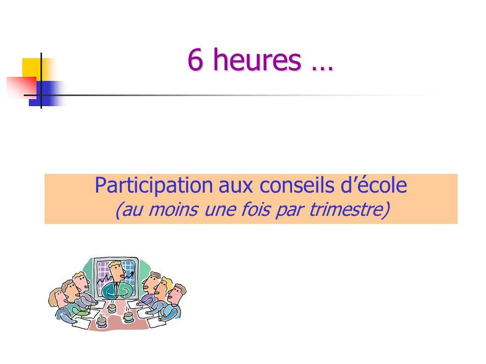 6 heures … Participation aux conseils d'école