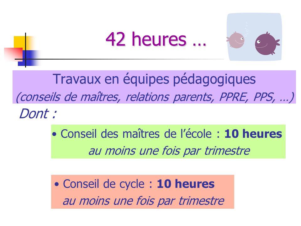 42 heures … Travaux en équipes pédagogiques Dont :