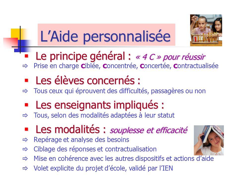 L'Aide personnalisée Le principe général : « 4 C » pour réussir