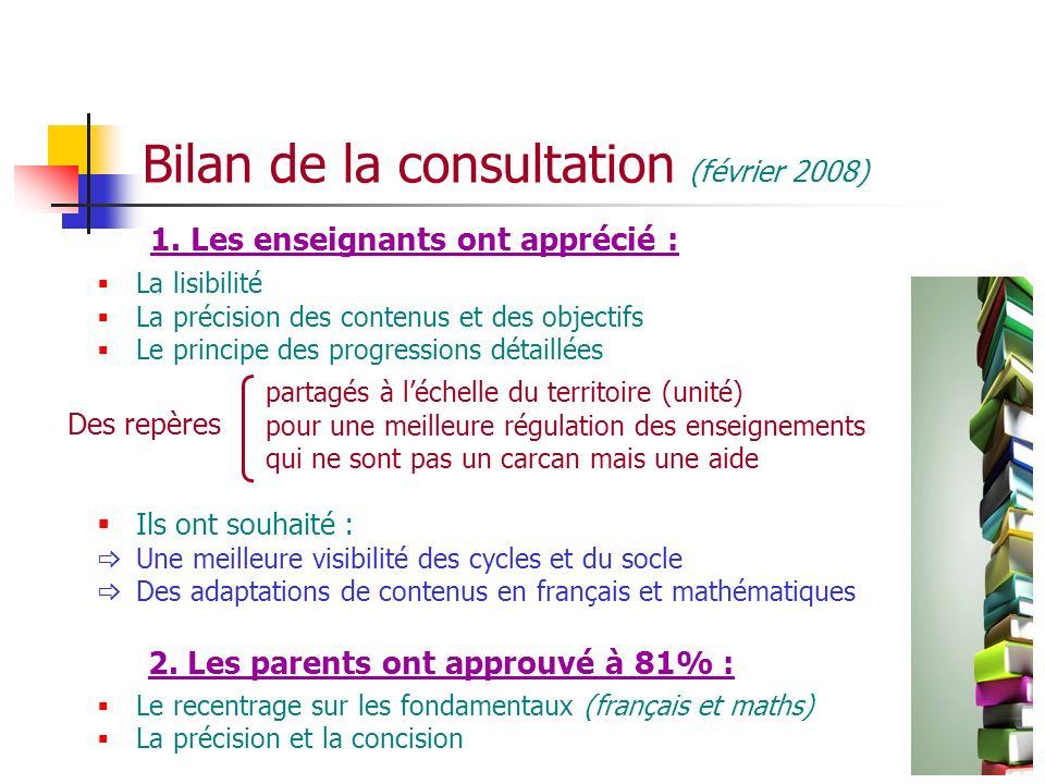 Bilan de la consultation (février 2008)