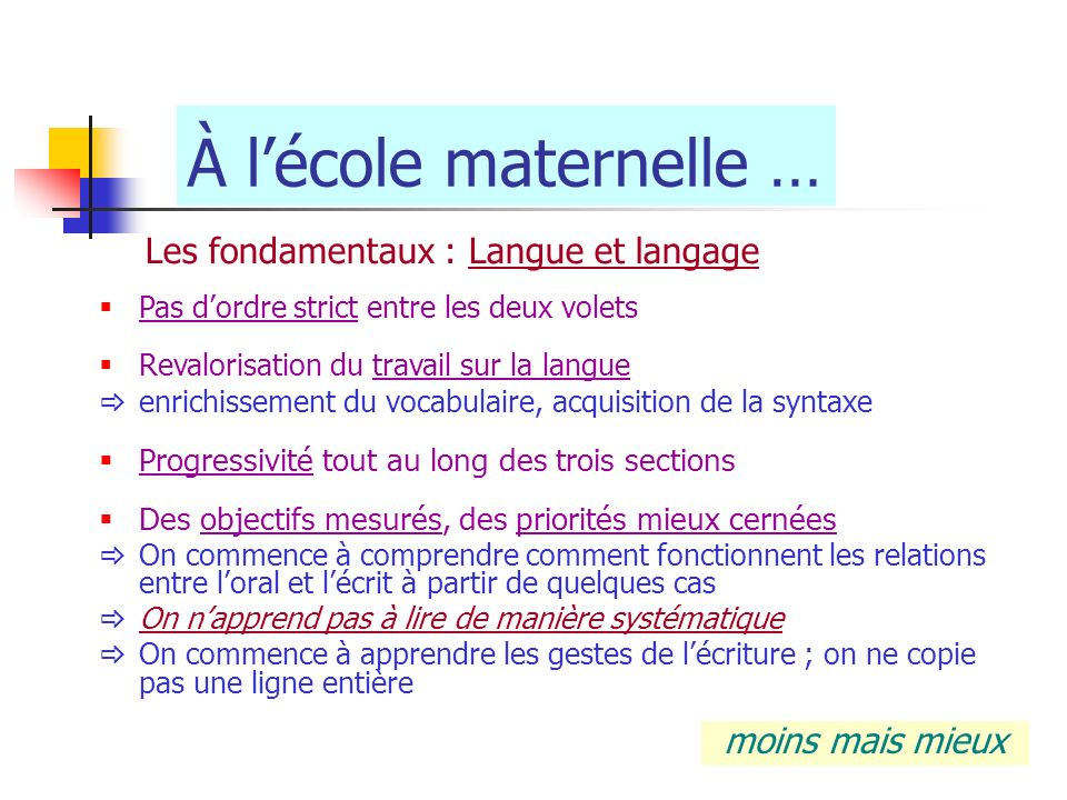 À l'école maternelle … Les fondamentaux : Langue et langage