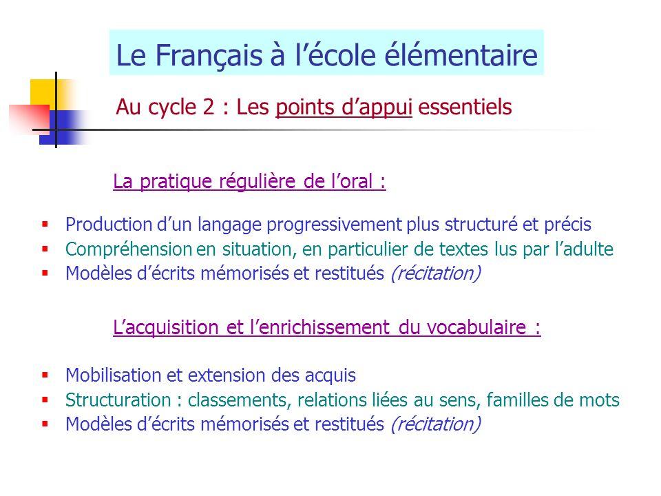 Le Français à l'école élémentaire