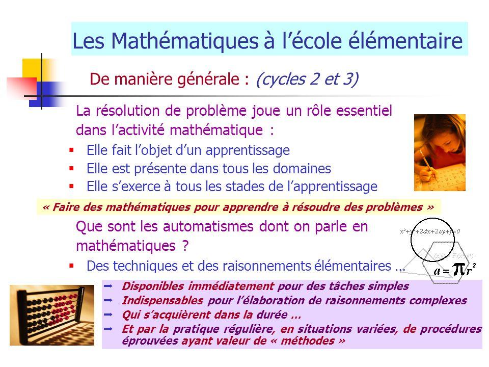 Les Mathématiques à l'école élémentaire