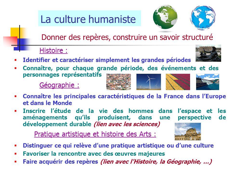 La culture humaniste Donner des repères, construire un savoir structuré. Histoire : Identifier et caractériser simplement les grandes périodes.