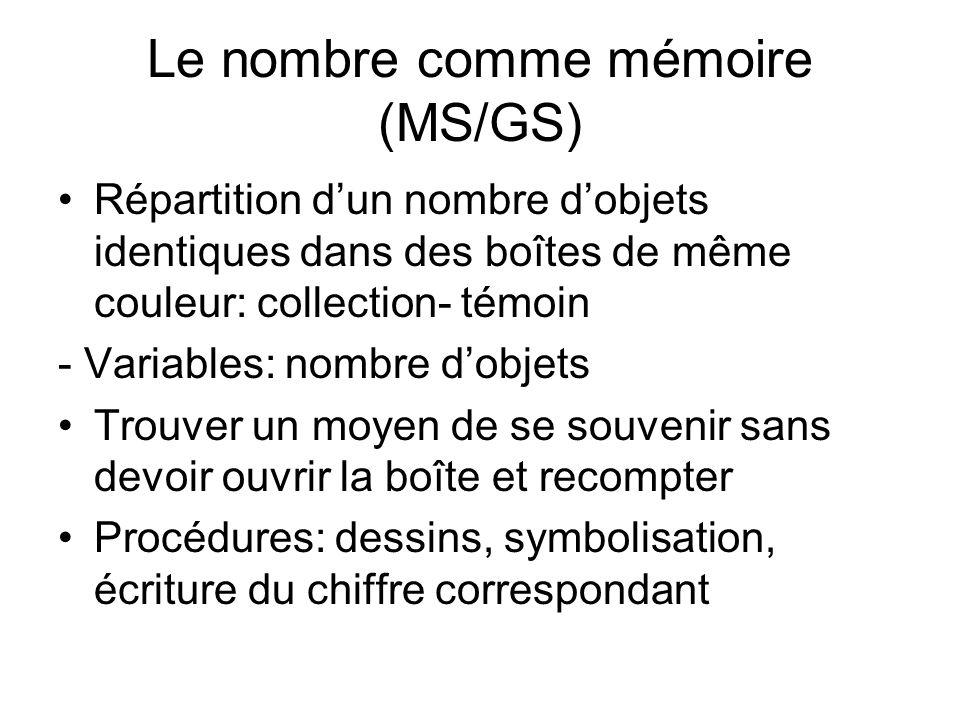 Le nombre comme mémoire (MS/GS)