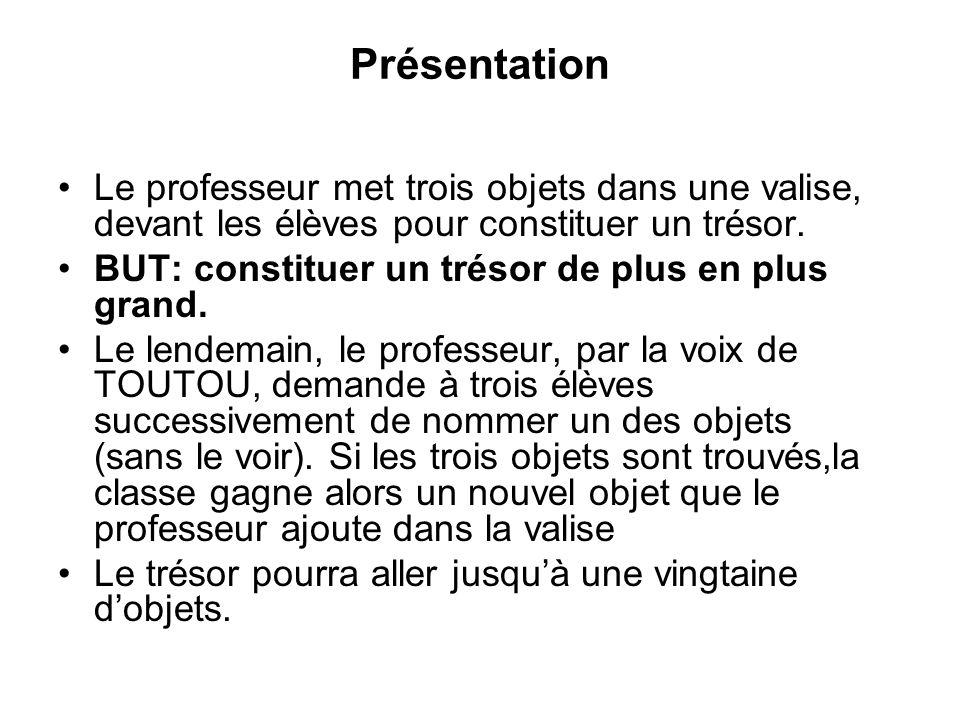 Présentation Le professeur met trois objets dans une valise, devant les élèves pour constituer un trésor.