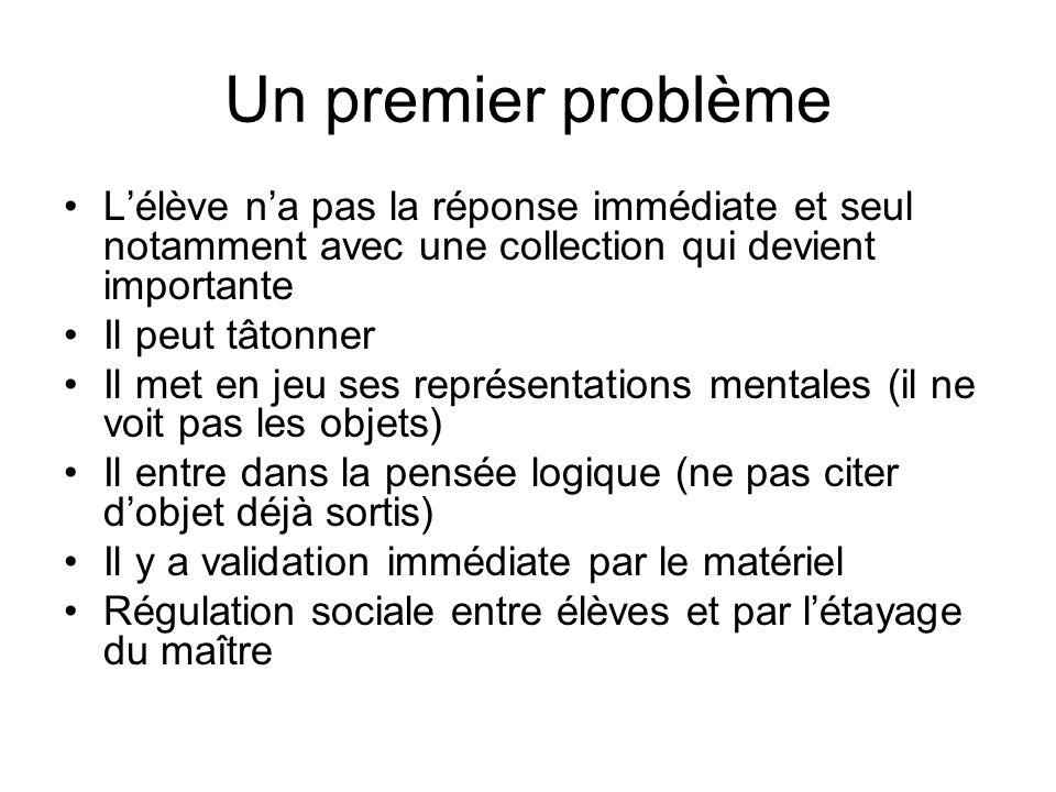 Un premier problème L'élève n'a pas la réponse immédiate et seul notamment avec une collection qui devient importante.